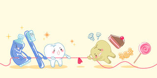Tooth in the tug of war. Healthy teeth and unhealthy teeth in the tug of war Stock Photography