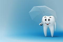 Tooth with umbrella royalty free illustration
