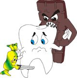 Tooth under atack. Cakesweets coses toothache Stock Illustration