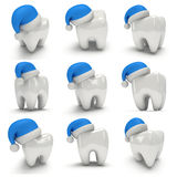Tooth Wearing Santa Claus Hat Set. Stock Photography