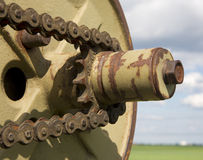 Tooth wheel from old harvester Stock Photo
