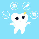 Tooth white blue background, teeth vector icon illustration first tooth. Children teeth care and hygiene cartoon flat vector icons.cute cartoon tooth brush and Royalty Free Stock Images