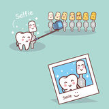 Tooth and whitening tool selfie Stock Image