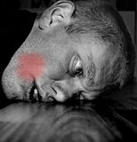 Toothache. Portrait of a man in painful expression with a toothache Stock Photos