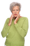 Toothache. Full isolated portrait of a senior woman with toothache stock photos