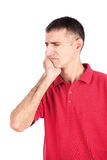 Toothache. Man in painful expression because of toothache, isolate on white background stock photos
