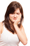 Toothache. Woman having Toothache, pain concept Stock Photography