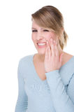 Toothache. Full isolated portrait of a caucasian woman with toothache Royalty Free Stock Image