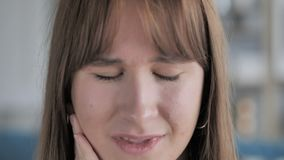 Toothache, Close Up of Young Girl with Tooth Infection stock video footage