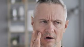 Toothache, Face Close Up of Gray Hair Man in Tooth Pain stock video
