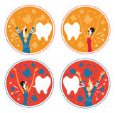 Toothache man and woman emblem backgrounds set. An image of a man and woman with a toothache wearing a head bandage vector illustration