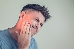 Toothache, medicine, health care concept, Teeth Problem, young m royalty free stock photography