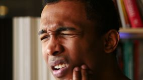 Toothache, Side View Close Up of Afro-American Man with Tooth Infection stock video footage