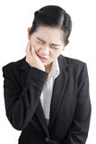 Toothache symptom in a woman isolated on white background. Clipping path on white background. Stock Photo