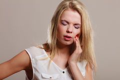 Toothache. woman suffering from tooth pain Royalty Free Stock Images