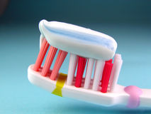 Toothbrush. With toothpaste-detail Royalty Free Stock Image