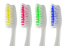 Toothbrush. Closeup of a toothbrush isolated on white background royalty free stock photo