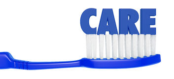 Toothbrush. Close up view of a toothbrush with text:care (3d render Stock Photos