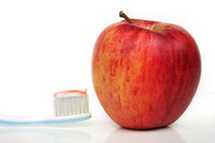 Toothbrush and Apple Royalty Free Stock Photo