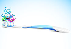 Toothbrush with bacteria Royalty Free Stock Images