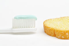 Toothbrush and Bread Butter. This is a toothbrush and Bread Butter Royalty Free Stock Photos