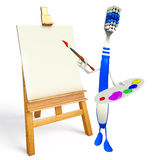 Toothbrush Character with Color plate Royalty Free Stock Image
