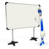 Toothbrush Character with display board Royalty Free Stock Photos