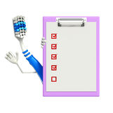 Toothbrush Character with notepad Stock Image