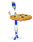 Toothbrush Character with pizza Royalty Free Stock Images