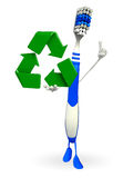 Toothbrush Character with recycle sign Royalty Free Stock Image