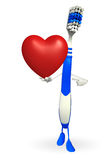 Toothbrush Character with red heart Stock Photos