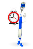 Toothbrush Character with table clock Royalty Free Stock Images