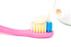 Toothbrush closeup of pasta Royalty Free Stock Photo