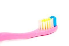 Toothbrush closeup of pasta Royalty Free Stock Images
