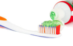 Toothbrush con dentifricio in pasta Fotografie Stock