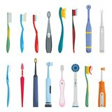 Toothbrush dental icons set, flat style. Toothbrush dental icons set. Flat illustration of 16 toothbrush dental icons for web royalty free illustration