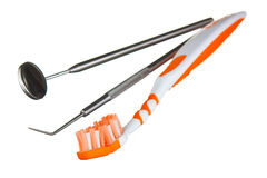 Toothbrush and dental tools Royalty Free Stock Photography