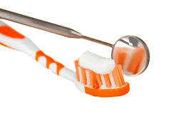 Toothbrush and dental tools Stock Photos