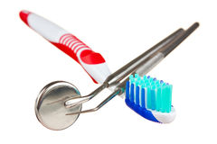 Toothbrush and dental tools Royalty Free Stock Photos