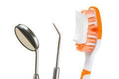 Toothbrush and dental tools Royalty Free Stock Images