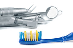 Toothbrush and dental tools Royalty Free Stock Image