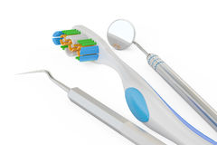 Toothbrush and dental tools, 3D rendering Royalty Free Stock Photography