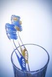 Toothbrush due in un vetro su una priorità bassa blu Fotografia Stock Libera da Diritti