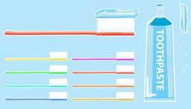 Toothbrush e dentífrico Imagens de Stock