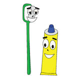 Toothbrush e dentífrico Fotos de Stock