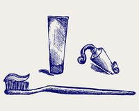 Toothbrush e dentífrico Fotografia de Stock