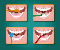 Toothbrush. Four steps to clean the teeth with toothpaste and toothbrush Royalty Free Stock Photos