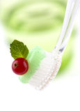 Toothbrush With Fresh Minty Toothpaste. Bristles of a toothbrush with fresh minty toothpaste topped with a red berry and green mint leaf Stock Photography