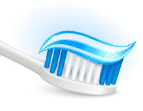 Toothbrush and gel toothpaste. Over white royalty free illustration