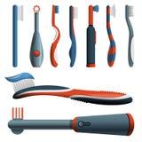 Toothbrush icon set, cartoon style royalty free illustration